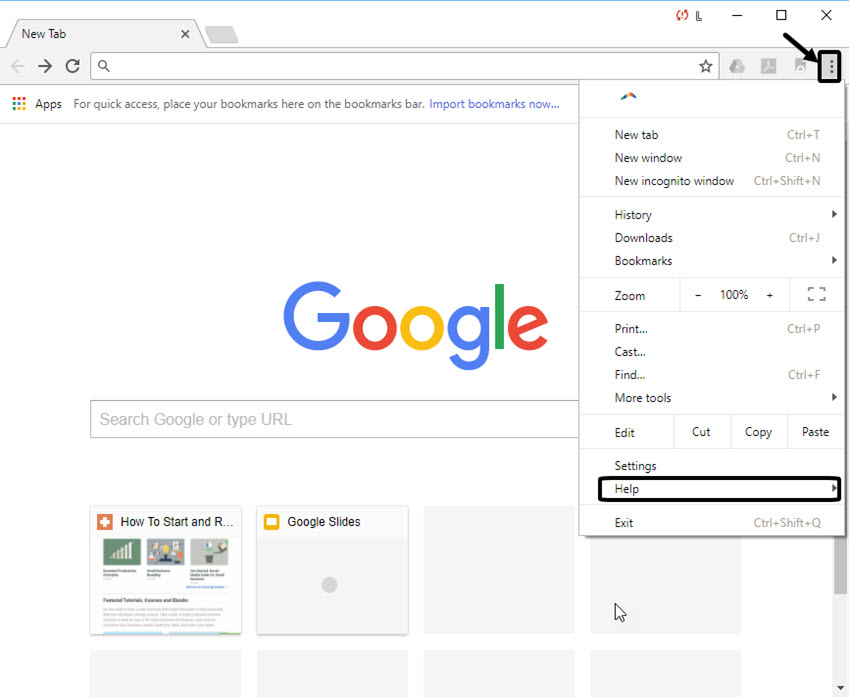 Menu Drop-down in Google Chrome