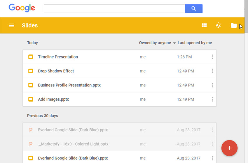Google Drive Screen Offline
