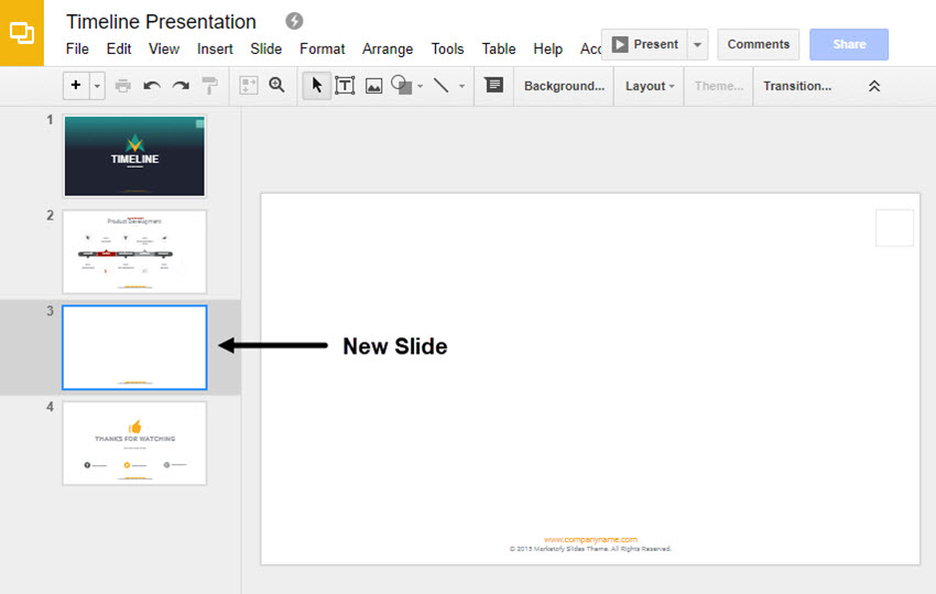 New Slide in Google Slides