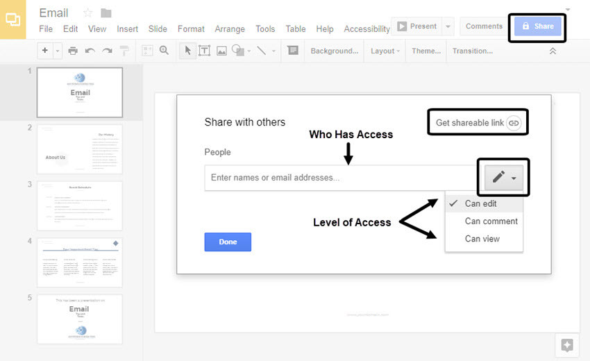 Google Slides Sharing