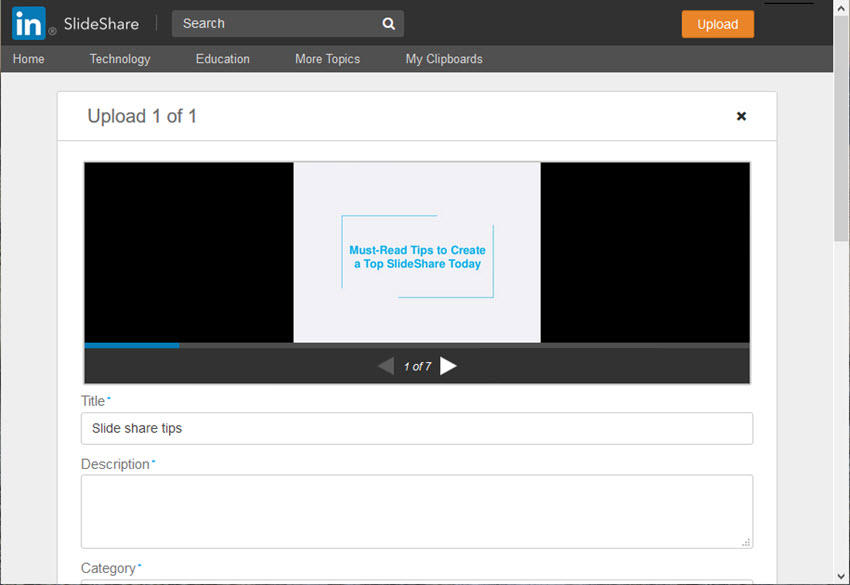 Upload Screen in SlideShare