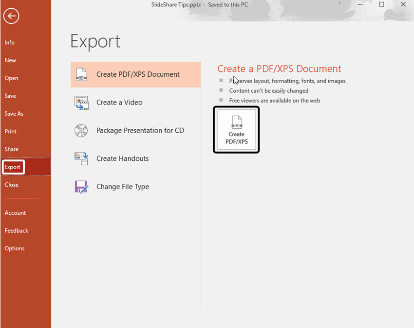 Export Your Presentation as PDF
