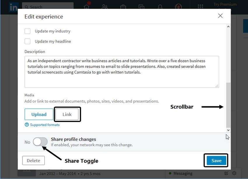 LinkedIn Edit Experience Screen
