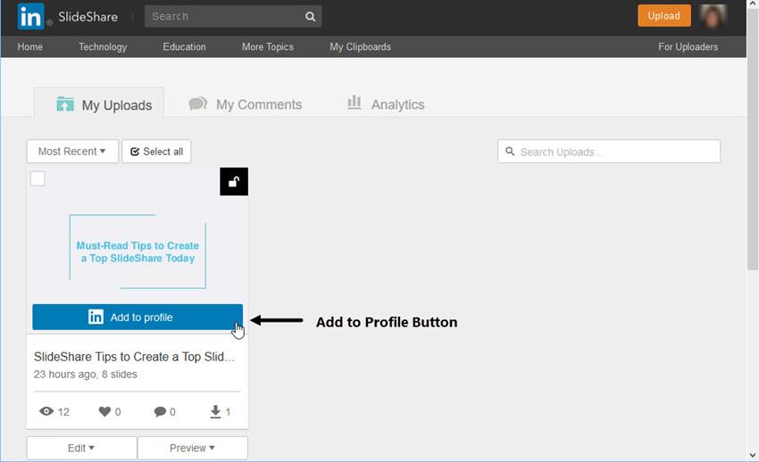 LinkedIn Add to Profile Button