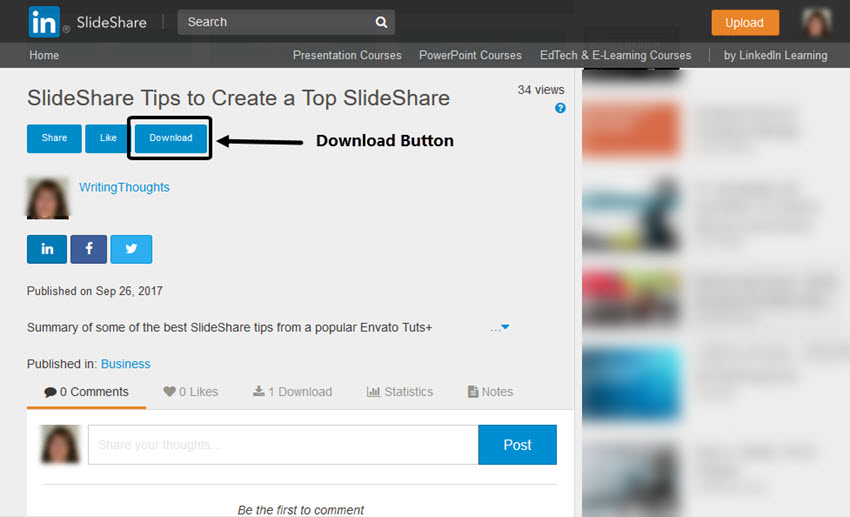 SlideShare Download Button