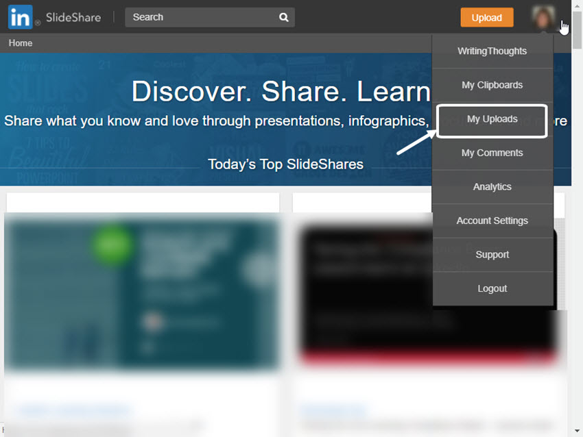 SlideShare Drop-Down Menu