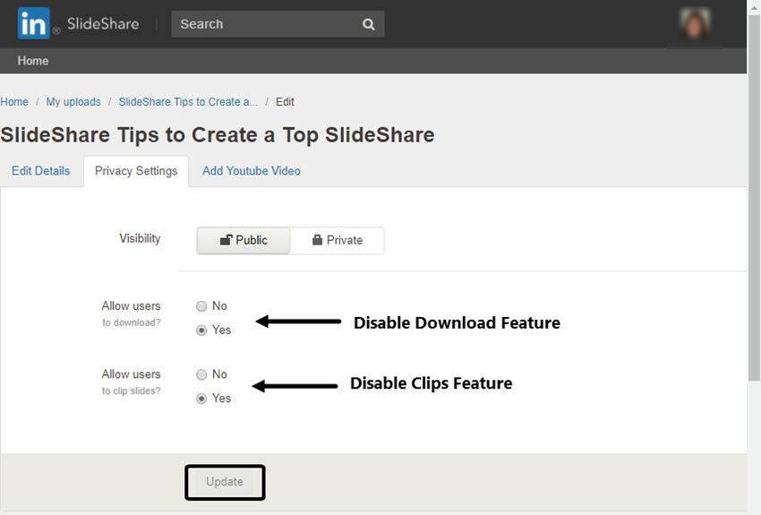 SlideShare Privacy Settings Tab