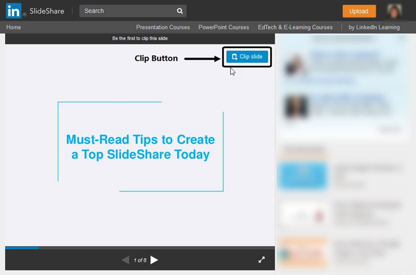 SlideShare Clip Slide Button