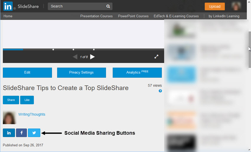 SlideShare share buttons