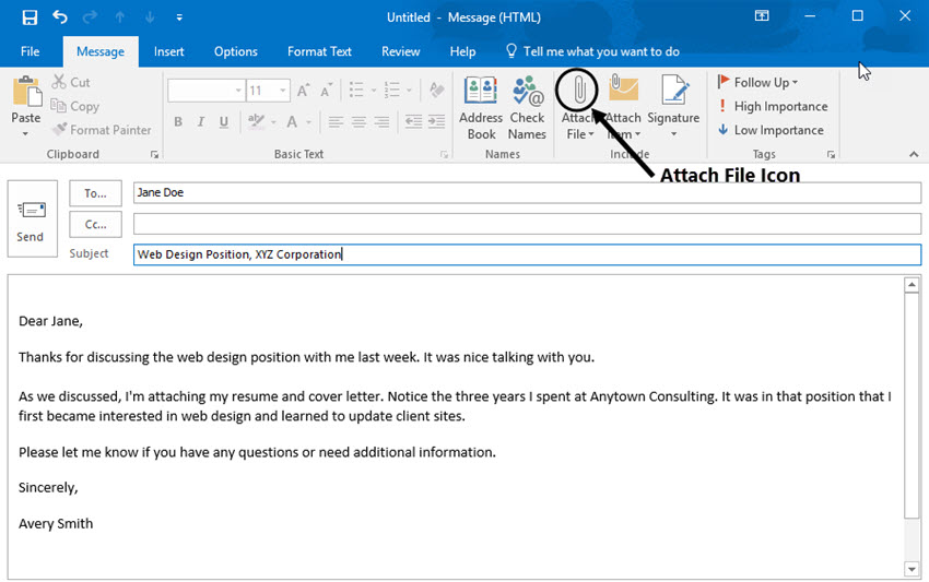 Wonderful Attach A File With Resume To An Email In Outlook For What To Write When Emailing A Resume