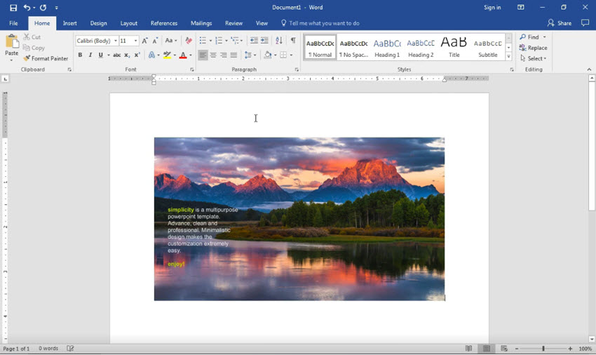 Paste a PowerPoint into Word