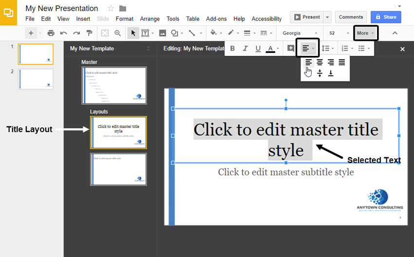 Title Slide of Google Slides master layouts