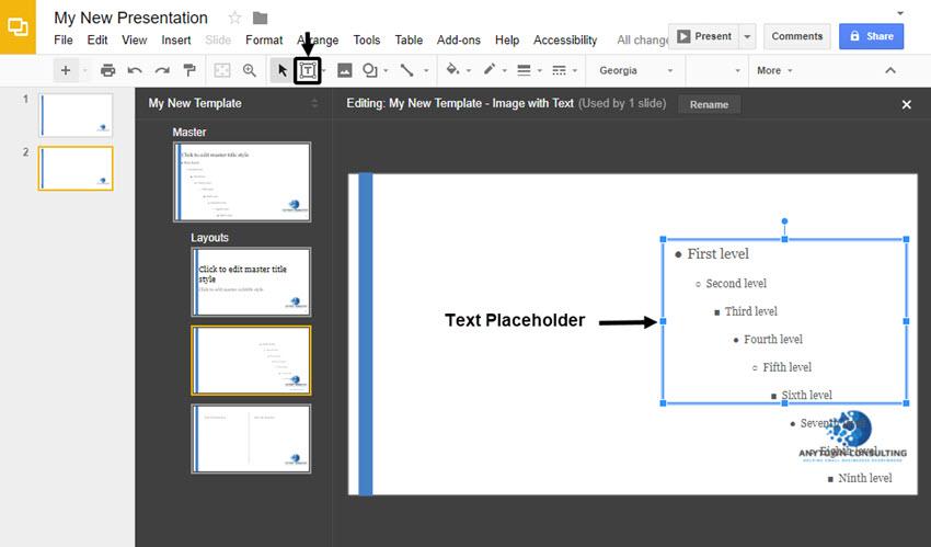Agregar un marcador de posición de texto a un diseño maestro en diapositivas de Google