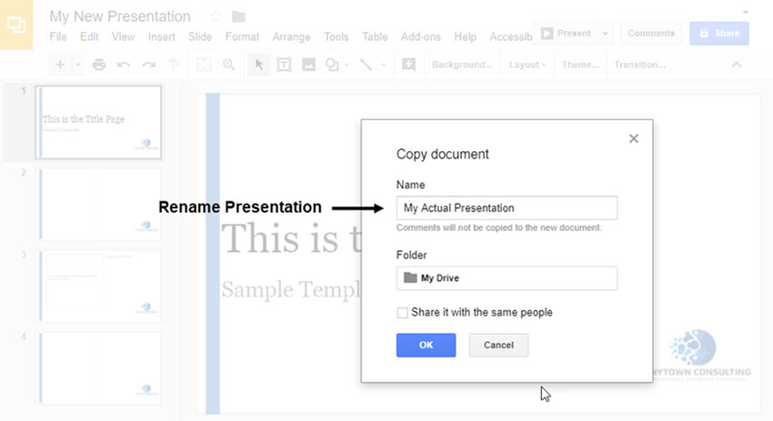 Rename Google Slide Template