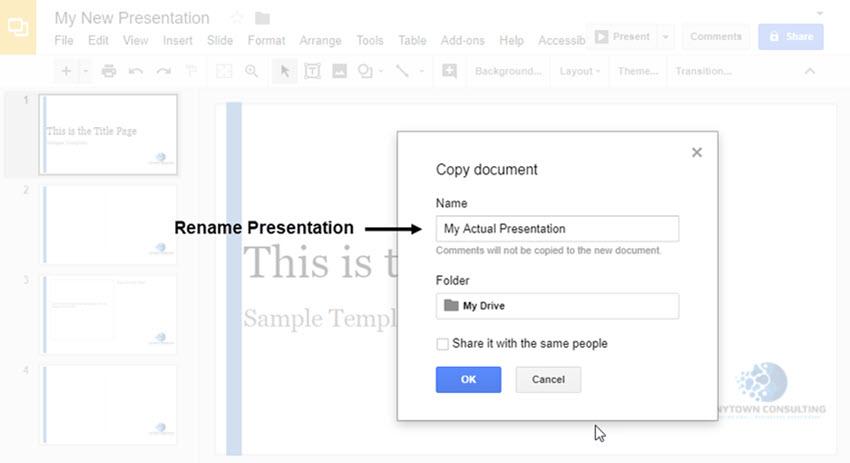 Renombrar la plantilla de diapositiva de Google