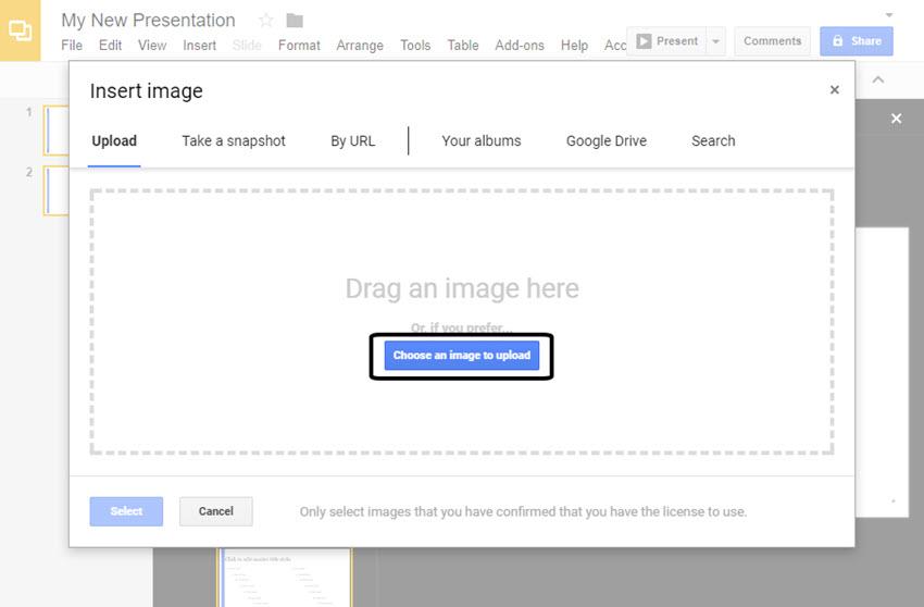 Pantalla de imágenes insertadas de Google Slides