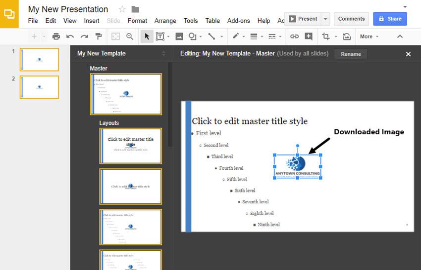 Agregar un logotipo a una diapositiva maestra de Google Slides