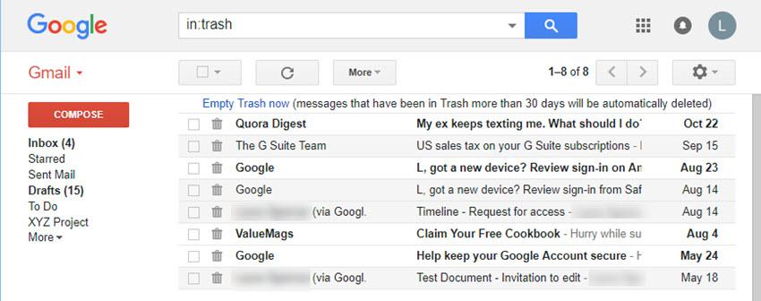 An open Gmail Trash folder