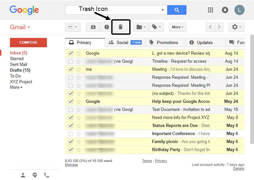 delete multiple gmail emails
