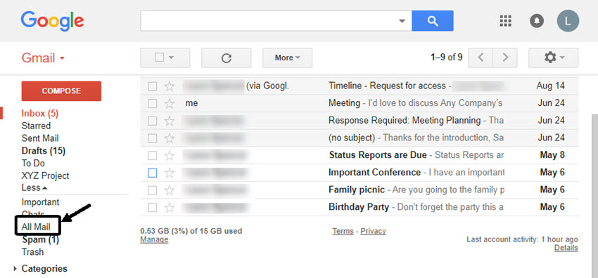 All Mail option in Gmail