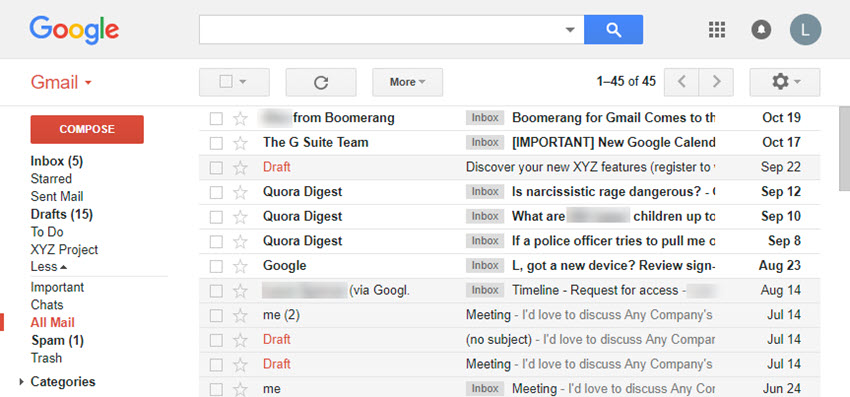 Gmail screen show All Mail