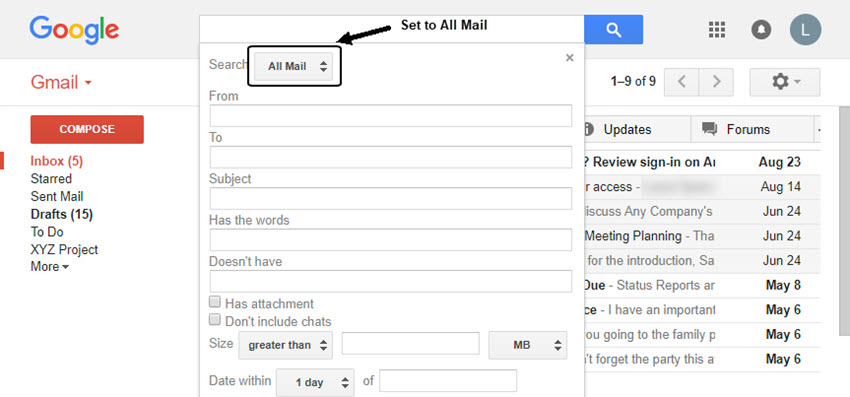 Gmail Advanced Search dialog box set to All Mail