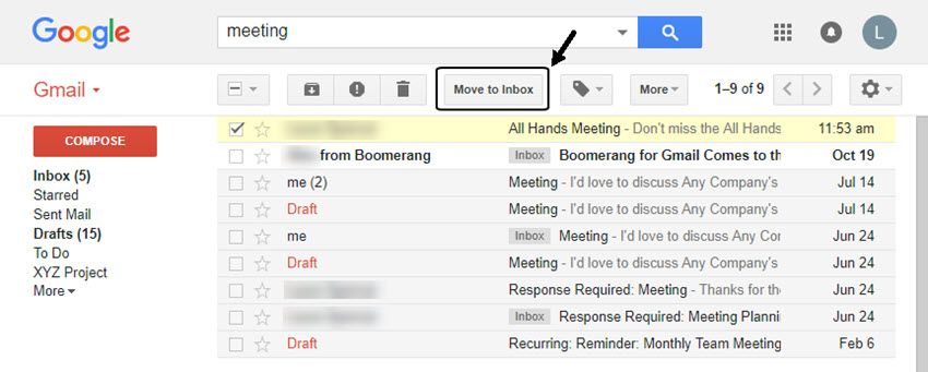 Restore archived Gmail email to the inbox
