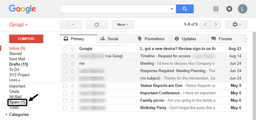 Finding your Spam folder in Gmail