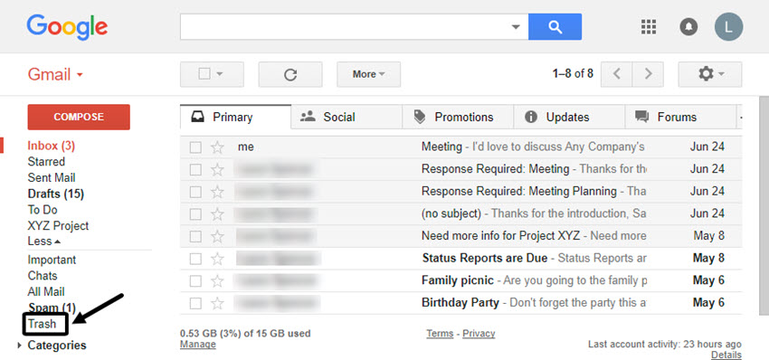 Find and open Gmail Trash folder