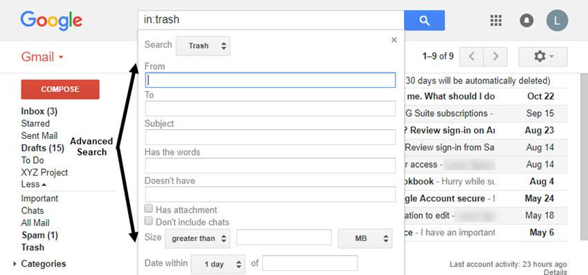 Gmail Advanced Search dialog box