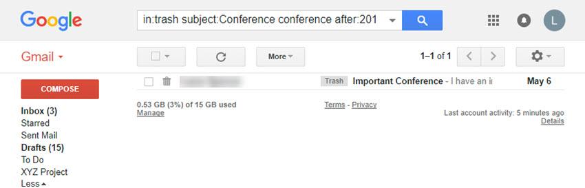 Gmail Trash folder search results