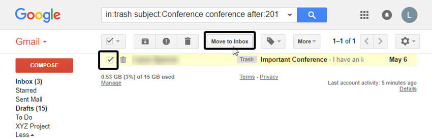 Recover a deleted email from Gmail Trash