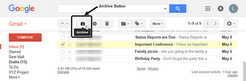Archive a deleted Gmail message