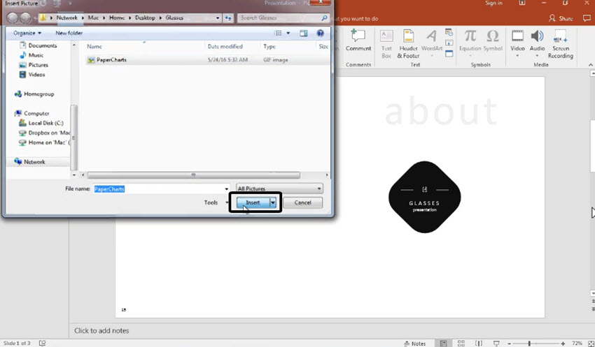 Find GIF image in PowerPoint
