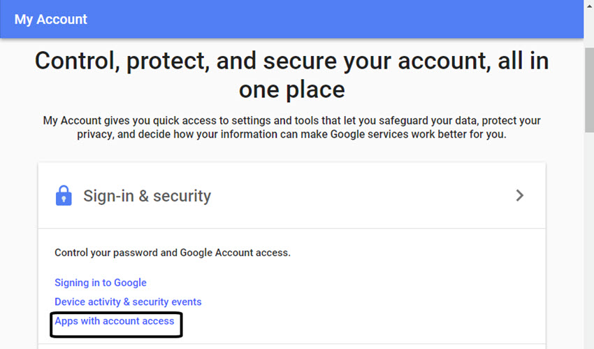 Google My Account screen
