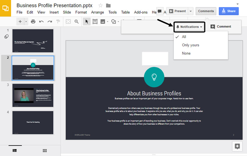 Turning on Google Slides notifications