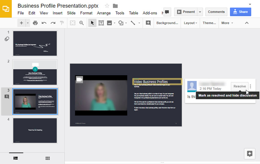 Google Slides Resolve button
