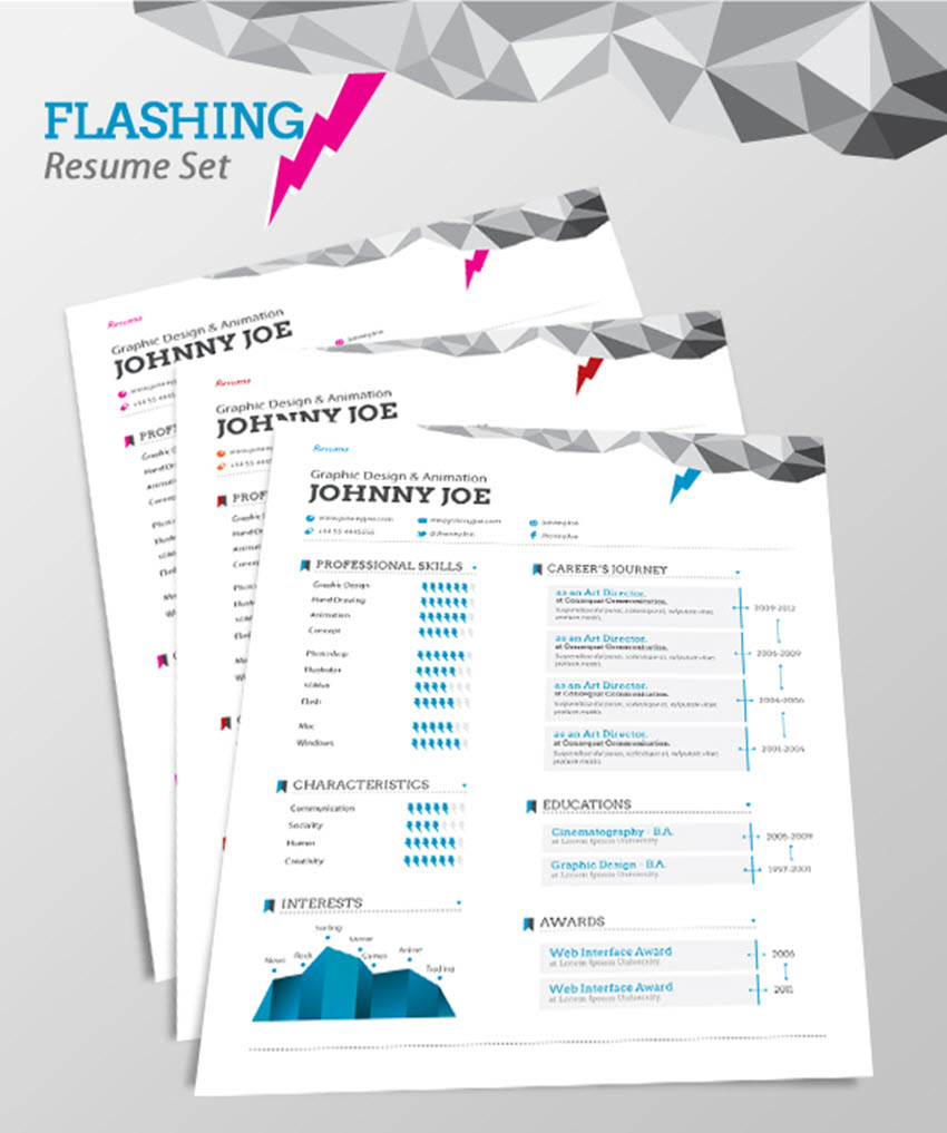 Flashing Resume Set   Visual Resume Template