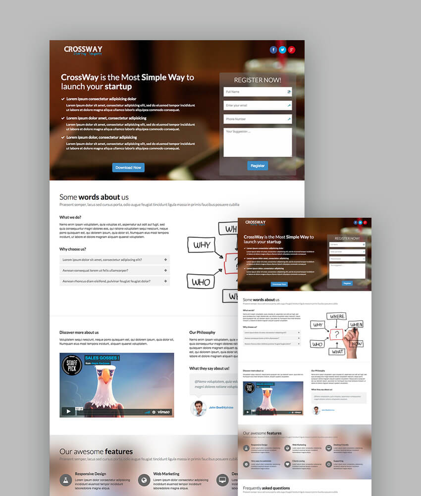 Best Responsive HTML Landing Page Templates - Launch page template