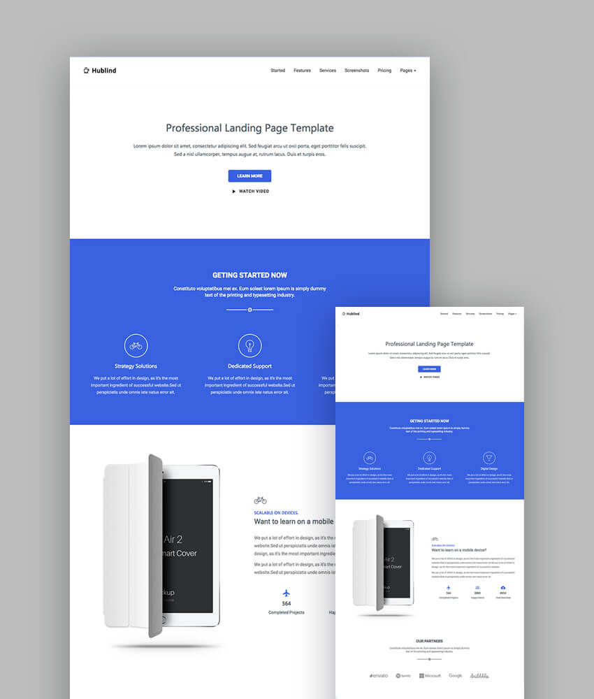 Best Responsive HTML Landing Page Templates - Website landing page templates