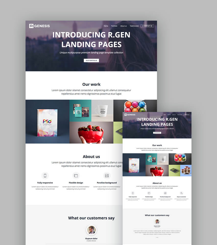18 best responsive html5 landing page templates 2018 for Wordpress squeeze page template