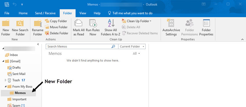 Outlook inbox showing new added folder