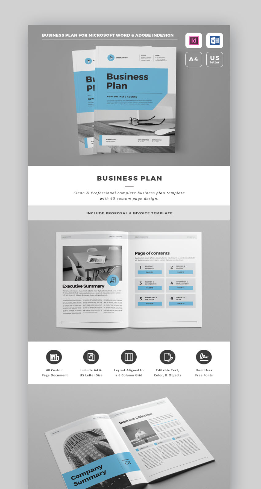 This Professional Business Plan Template Includes A First Class Business  Proposal Template. Youu0027ll Get A 40 Page Indesign Business Template AND A  32 Page ...  Business Project Proposal Template