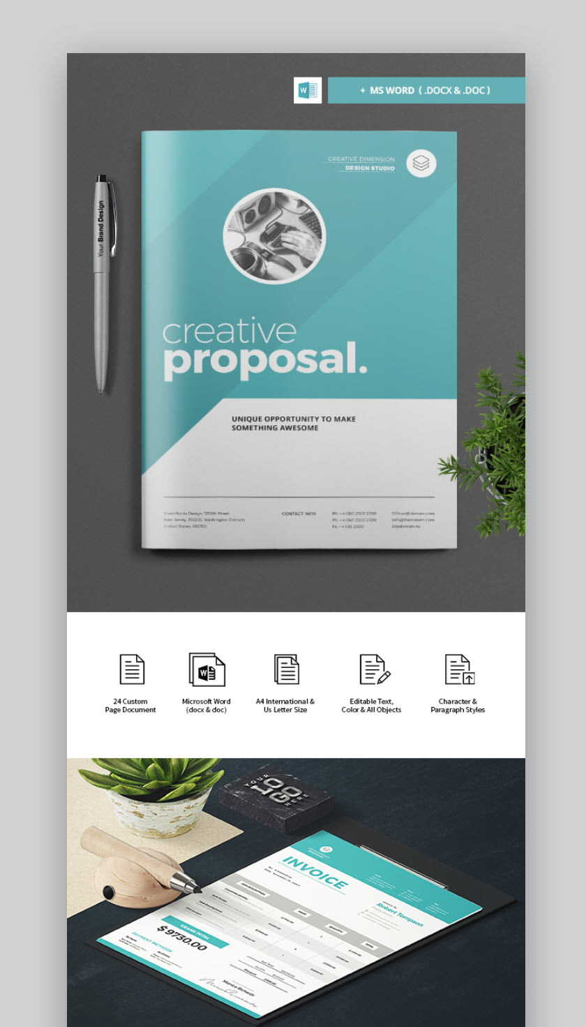 With A Single Click You Can Customize The Colors On The Easy To Use Professional  Proposal Template. Choose Between 24 Pages  Use Them All, Or Just A Few.