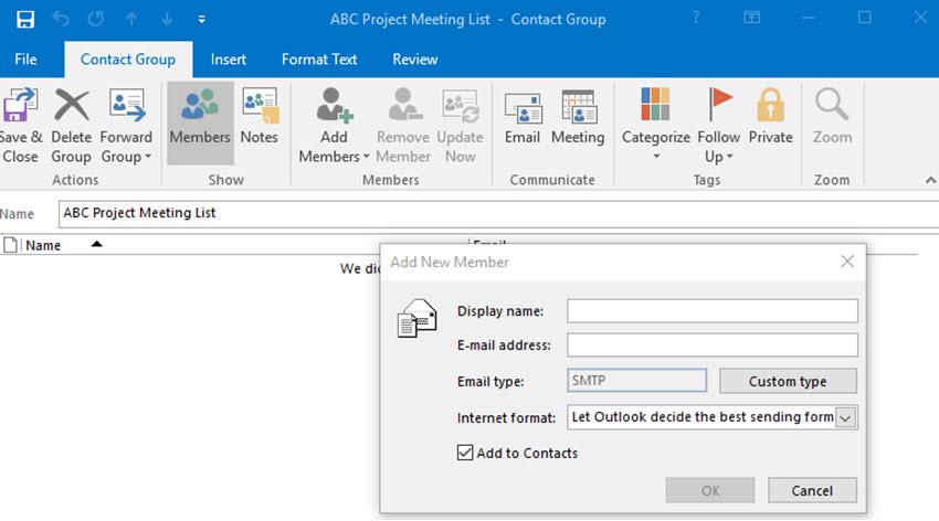 Add New Member dialog box