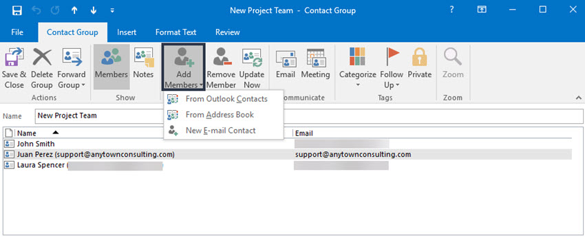 Open Contact Group window
