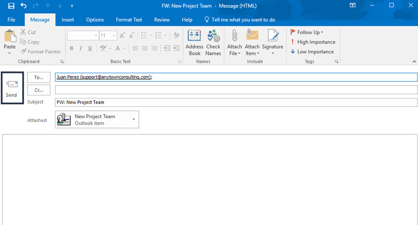 Outlook Compose wincow