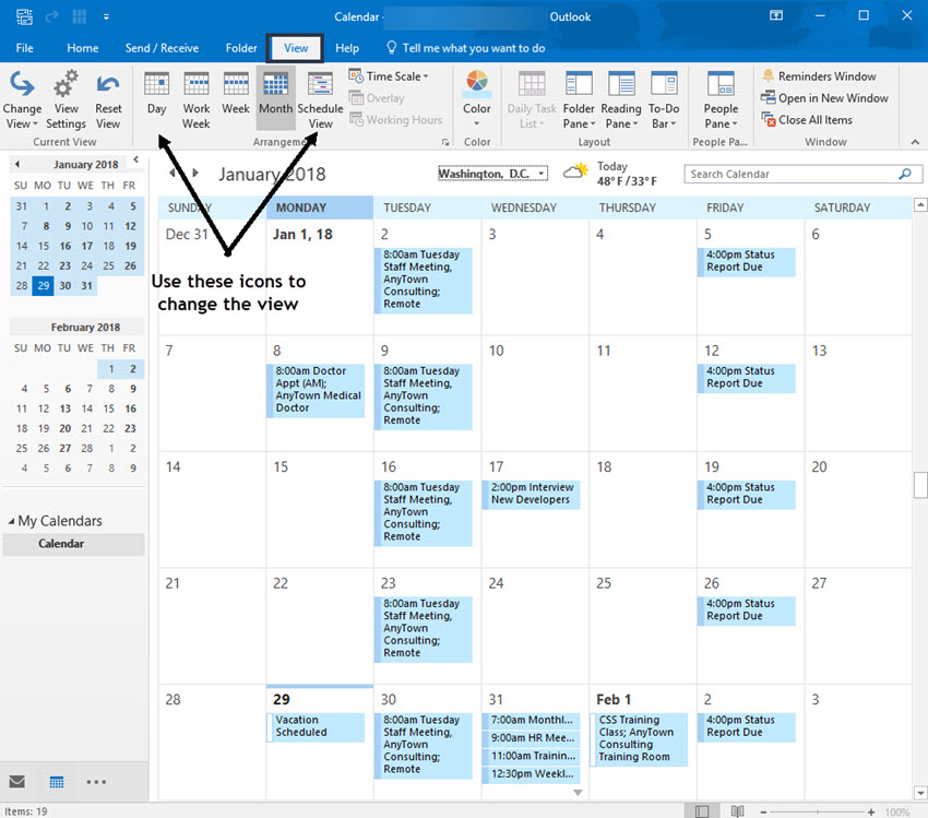 Change the Outlook calendar view