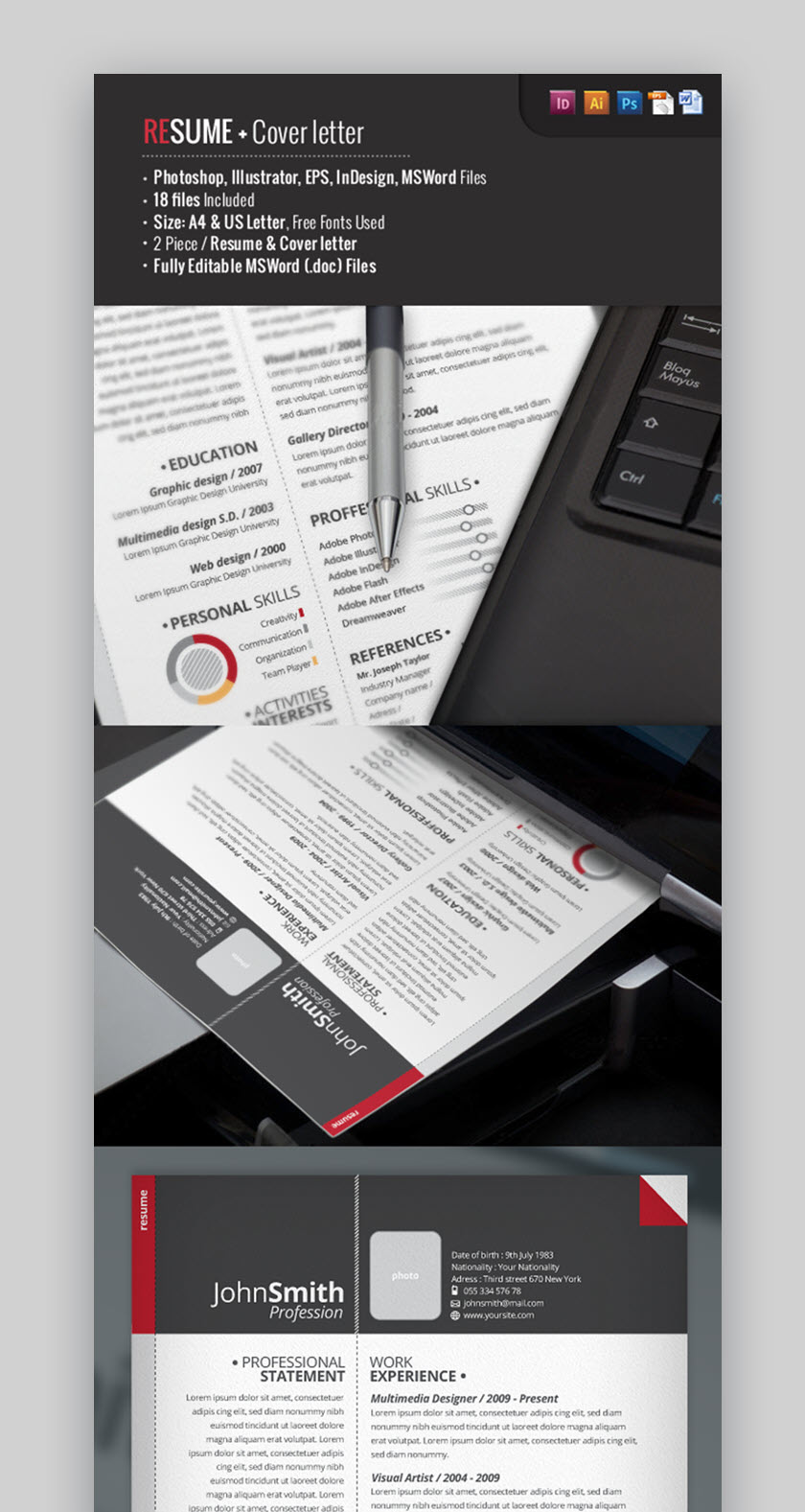 Best Photoshop Psd Resume Templates With Photo Formats