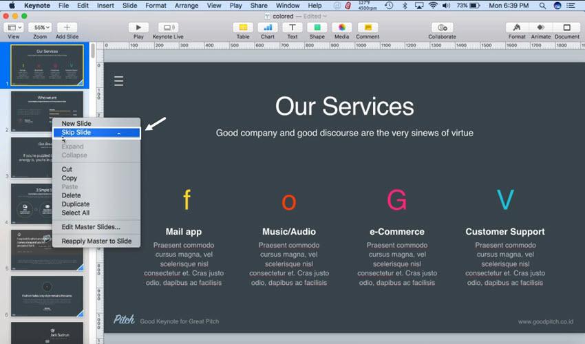 How to Hide Slides in Keynote